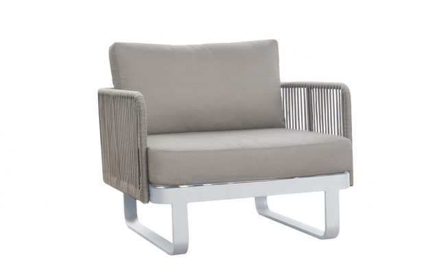 Verona Aluminum round rope sofa, domestic rope in polyester, one seater