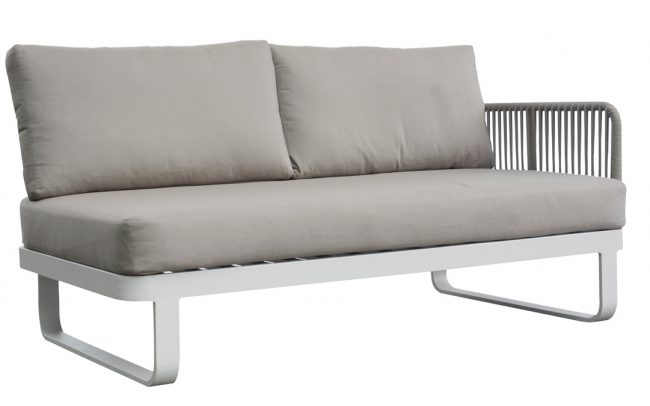 Verona Aluminum round rope sofa, two seater with one left armrest