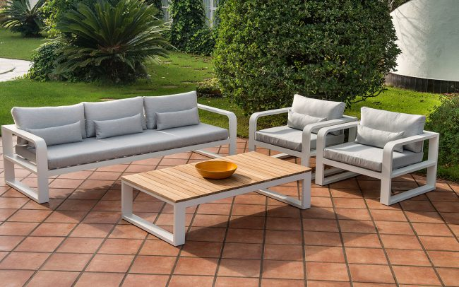 FERMO – Patio Sofa Set, Lounge, Teak/Ceramic Dining and Teak Bar Set
