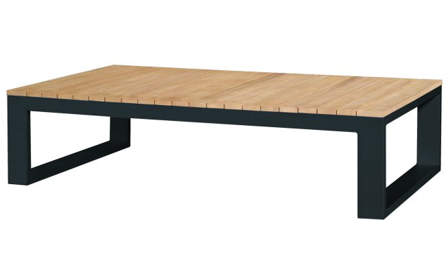 Fermo Aluminum Coffee Table with Teak Top