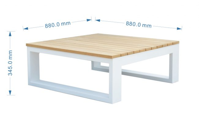 Fermo Aluminum Coffee Table with Teak Top, 88*88CM
