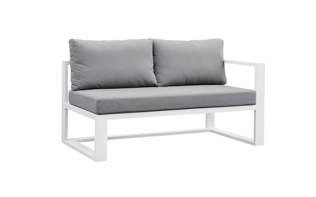 Belluno Full aluminum sofa, two-seater, with two armrest