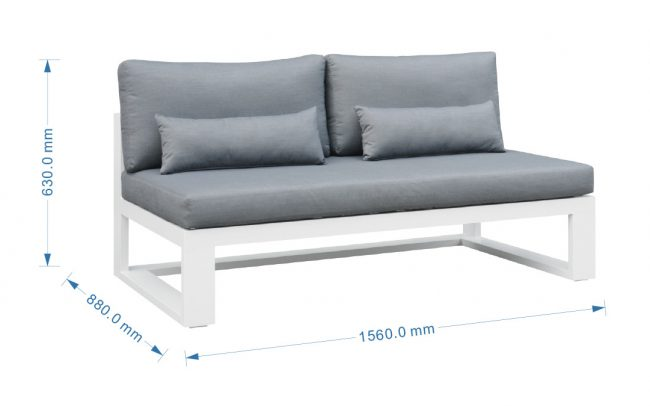 Fermo Aluminum sofa, two seater, without armrest