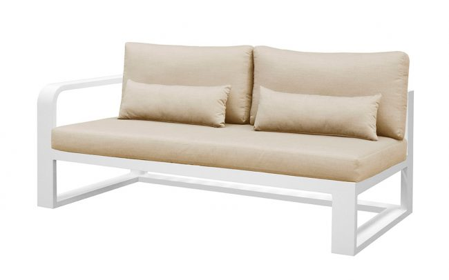 Fermo Aluminum sofa, two seater, with right armrest