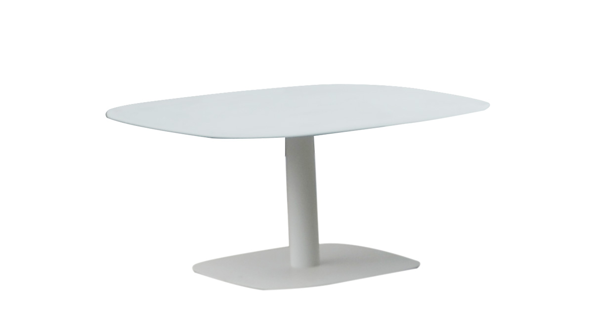 Spade Aluminum coffee table, with 6mm white foggy glass top,800*800*330mm