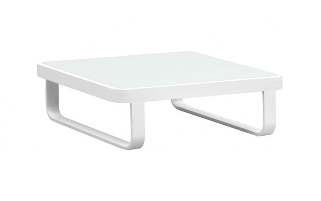 Verona Aluminum glass coffee table,84*84cm, 8mm white foggy glass