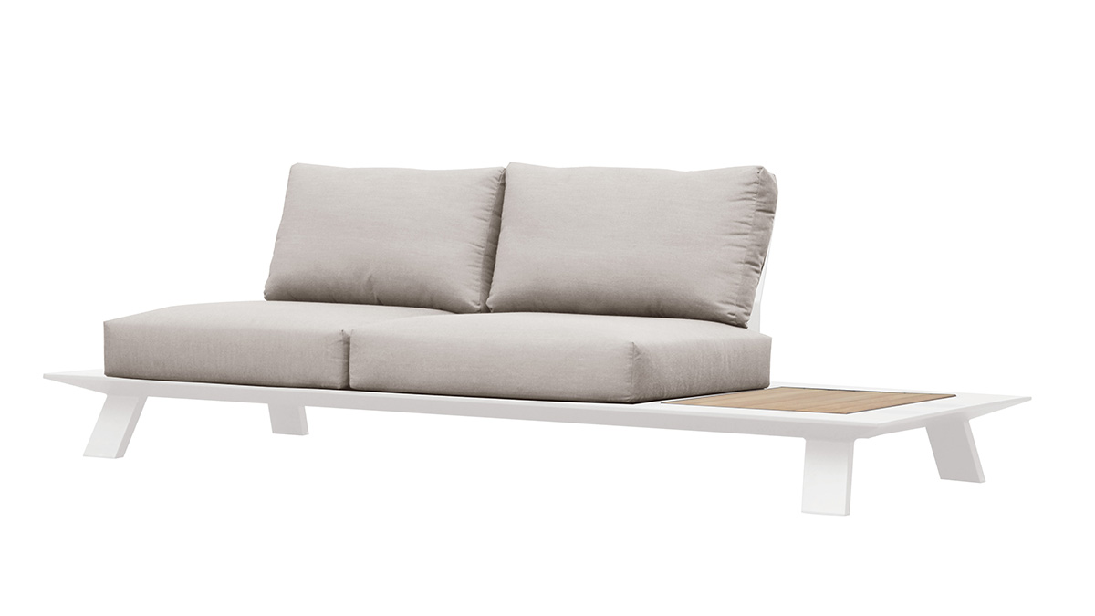 Neverland Aluminum/teak sofa, two seaters, with 2 backpannels, without cushion