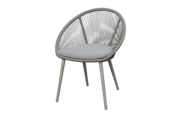 Spade Aluminum/Round Rope Chair, Domestic Rope in Polyester, without cushion