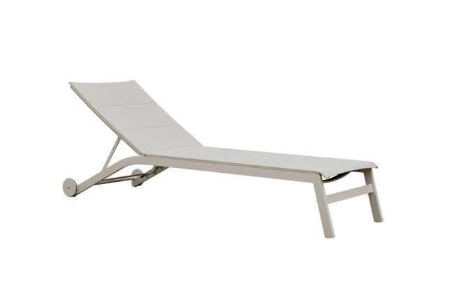 Boston Aluminum/sling sunlounger, double sling with fleece filling, with wheels