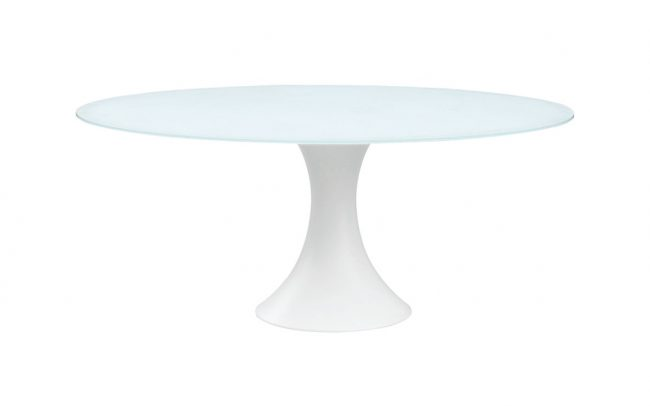 Fano Glass table, with aluminum central base, 12mm white foggy glass top