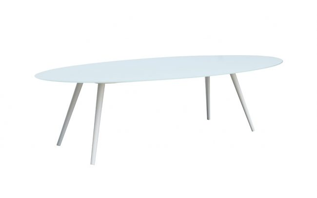 Spade aluminum/glass oval table, 8mm white foggy glass top