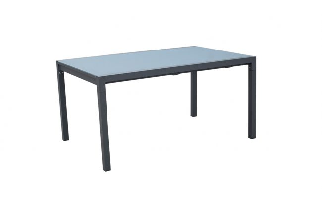 Auto aluminum/glass extension table, with 6mm white foggy glass top