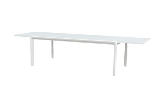 Themis Aluminum/glass extension table, with 8mm white foggy glass top