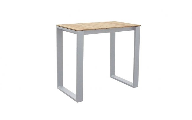 Fermo Aluminum/Teak High Dining Table, 120*70cm